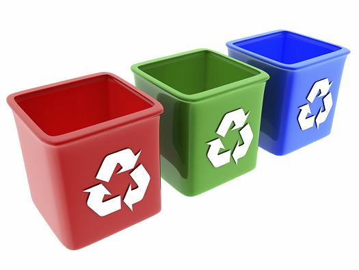 recycling containers for glass,paper and plastic